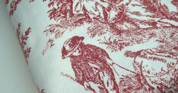 Red Toile Fabric Waverly Rustic Life By
