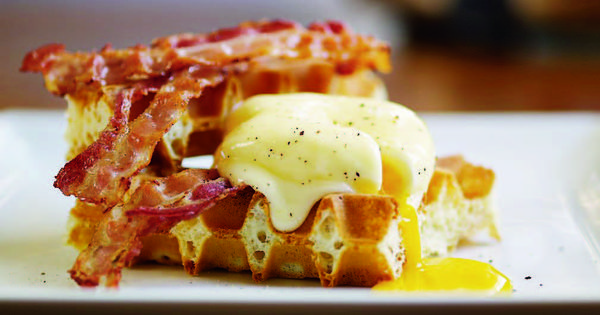 Savory Waffles with Poached Eggs Bacon