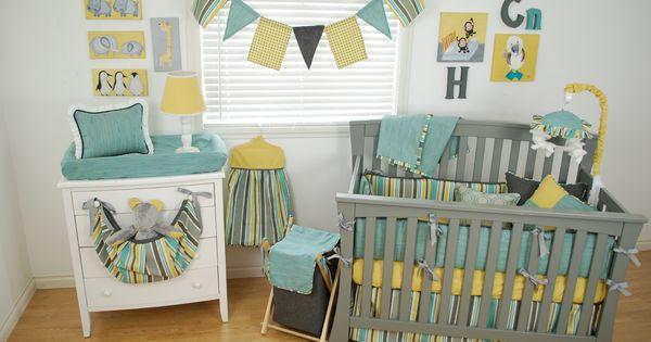 Animal Theme Nursery With Yellow Grey And Aqua Stripe