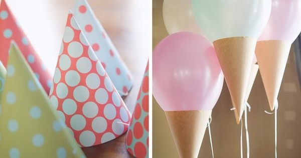 ice cream cone balloons! cute idea for a birthday party!
