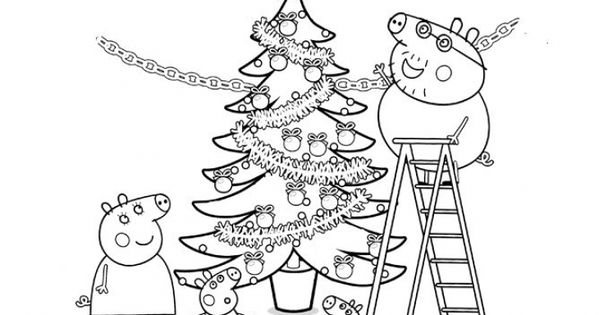 Peppa Pig and family decorating