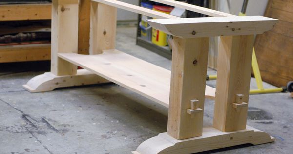 Trestle table woodworking plans trestle table base fcf for Post trestle farm table plans