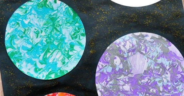 Preschool Space Craft: Marbled Planets Art | Space crafts ...
