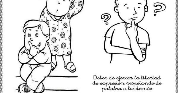 Plastilina Y Lápiz 20 De Noviembre Día De Los Derechos: Obligaciones De Los Niños Para Colorear
