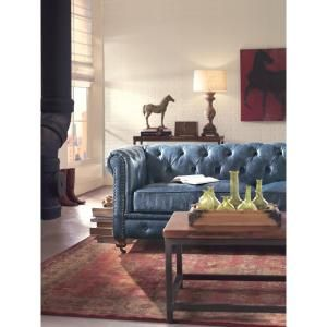 Home Decorators Collection Gordon Blue Leather Sofa 0849400310 Room Furniture Design Blue Leather Sofa Brown Couch Living Room