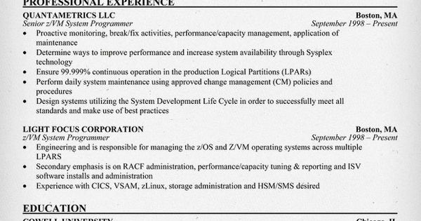 Sample of a Z Vm System #Programmer Resume Format (resumecompanion - systems programmer resume