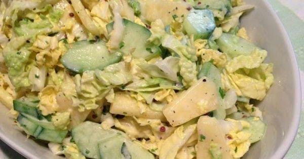 rezept chinakohlsalat mit gurke ananas und schmand senf dressing greenway36 salate. Black Bedroom Furniture Sets. Home Design Ideas