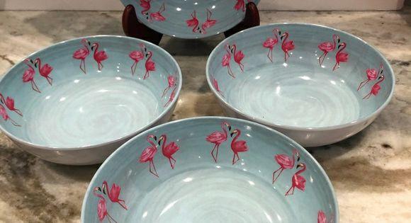 """Set of 4 Blue Clam Seashells Tommy Bahama Melamine 8.75/"""" Pasta Salad Bowls"""