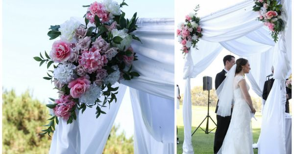 Chuppah With Pink And White Flowers Found On Modern Jewish Wedding