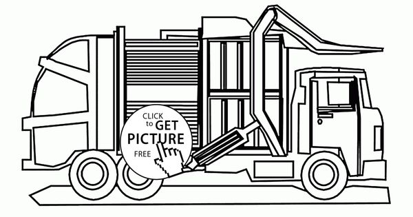 Printable Coloring Pages Garbage Truck : Cool garbage truck coloring page for kids transportation