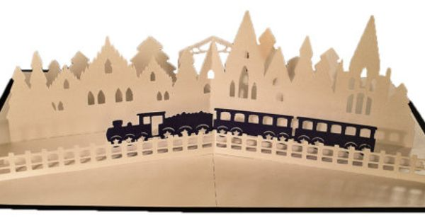3d Svg Pdf Pop Up Layered Card Christmas Train In 2021 Christmas Train Christmas Cards Pop Up