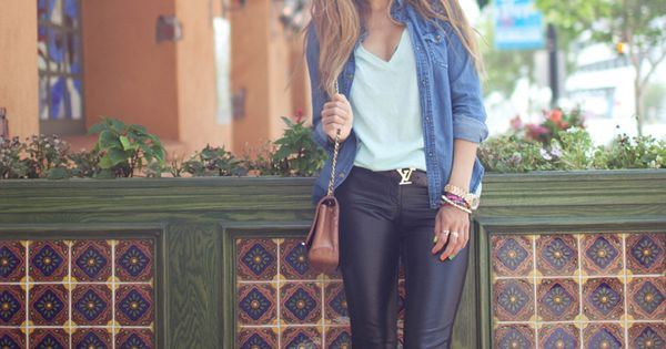 Sunday Brunch Outfit! Denim shirt + loose v-neck + leather pants +