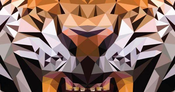 Geometric Animal Wallpaper 74 Images: IOS8 Animals Tiger Polygon Pattern Drawn #iPhone #6 #plus