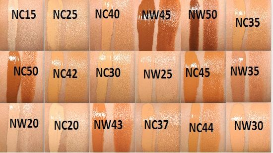 mac foundation shades