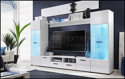 Living Room Set Tv Unit Cabinet Furniture Wall Shelf Cupboard Stand Gloss Modern 3063409208245 Ebay Modern Tv Units High Gloss Furniture Wall Tv Unit Design
