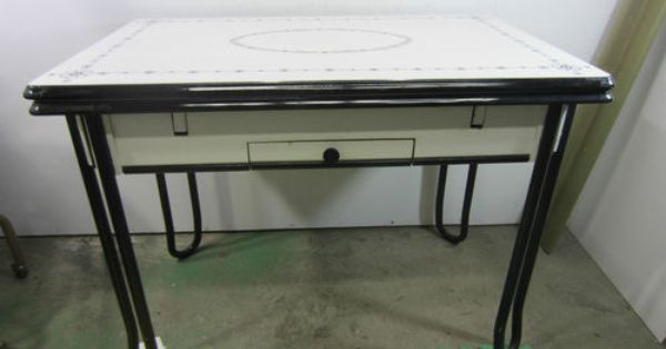Vintage black white porcelain kitchen table w pull out leaves and drawer white porcelain - Pull out kitchen table ...
