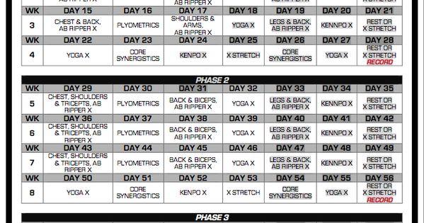 P90x Workout Routine Schedule | P90X Classic Schedule | A ...