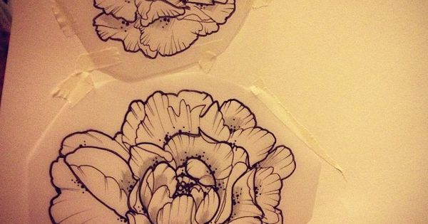 another pic of the line drawing peony i want, with another smaller