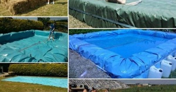 The homestead survival how to build a hay bale tarp for Hay bail pool
