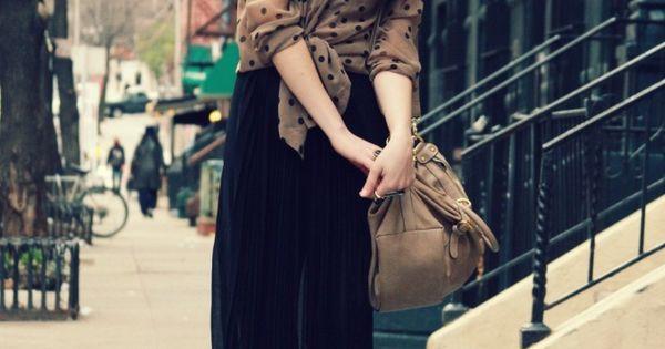 #long maxi skirt polka dots