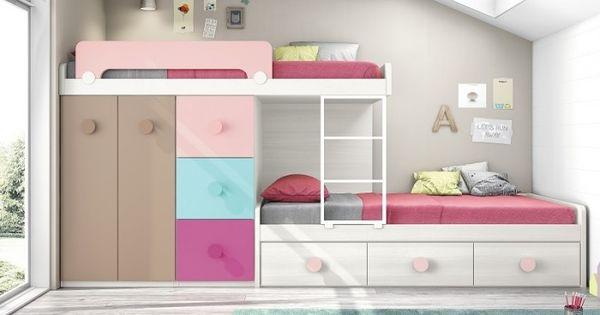 Muebles literas con camas juveniles con colores alegres - Quitamiedos para literas ...