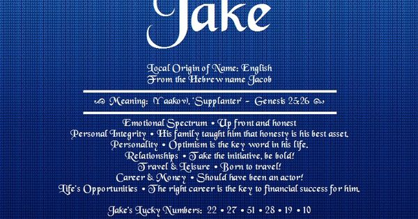 Jake Name Meaning