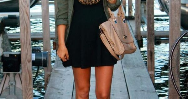 Hello leopard print! Black dress, army green jacket and leopard scarf & boots for fall