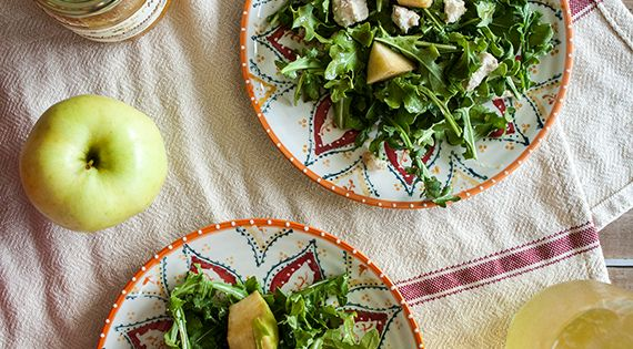 Try this Summer Arugula Salad Recipe with apple, honey and fig goat cheese. Delicious no cook meal for Summer. More on Bright Bold and Beautiful blog.