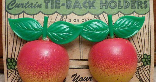 Sweet Vintage Curtain Tie Backs Pin Backs Fruit Apples