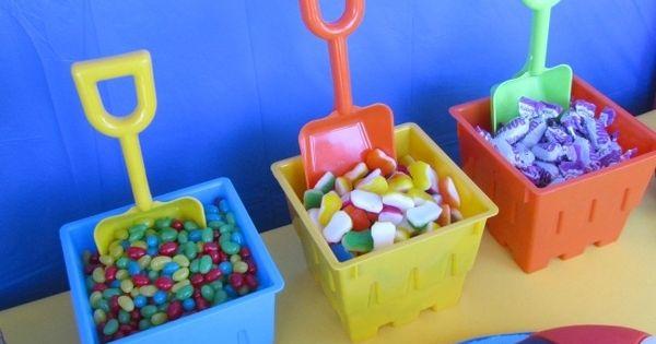 Candy buffet beach pails summer parties pinterest