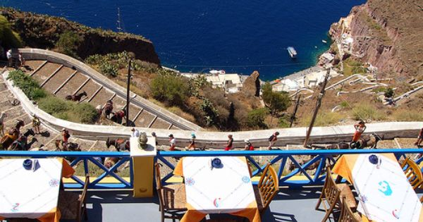 Check Out The View From This Restaurant In Santorini Greece