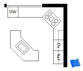 Open Plan L Shaped Kitchen Layout With Angled Island Kitchen Layout Plans Kitchen Island With Stove Kitchen Floor Plans