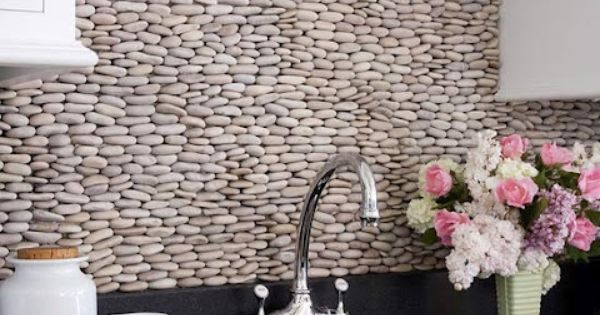 river rock kitchen wall- must have