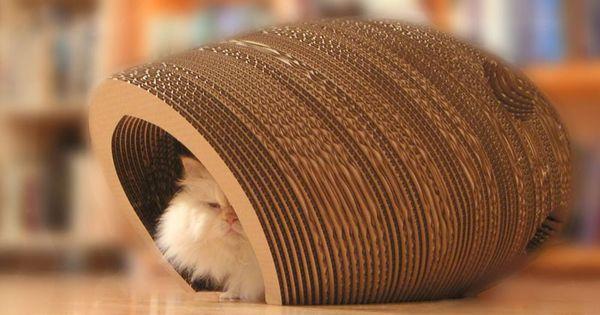 il parra t que les chats adorent ces petites niches en carton ils peuvent y faire leurs griffes. Black Bedroom Furniture Sets. Home Design Ideas