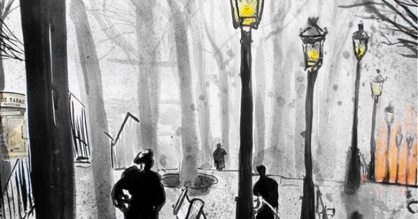 """Saatchi Online Artist: Loui Jover; Pen and Ink, Drawing """"montmartre stairs"""". I"""