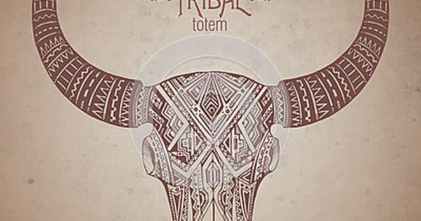 Cr ne indien d coratif de taureau dans le style tribal de tatouage avec des fleurs tatouages - Tatouage crane indien ...