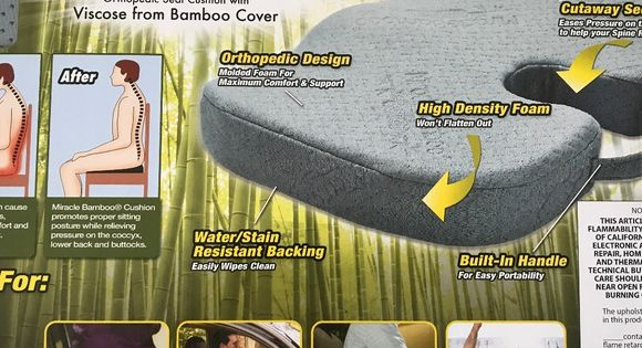 Miracle Bamboo Seat Cushion Orthopedic Unused Orthopedic Seat Cushion As Seen On Tv To Help Relieve Back Aches And Dis Orthopedic Seat Cushion Cushions Bamboo