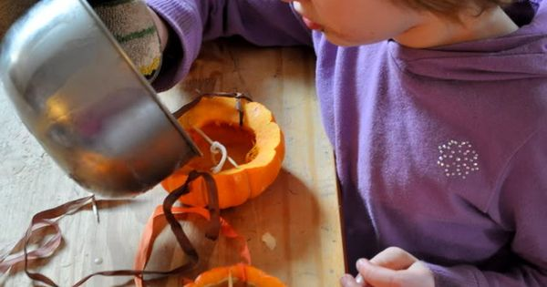 pumpkin beeswax candle lanterns & links to Halloween songs and story