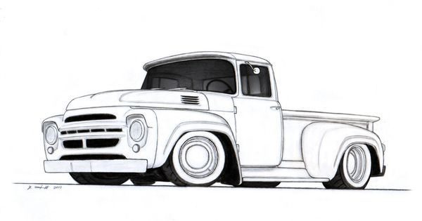 vintage truck drawing   custom pickup truck drawing by ...