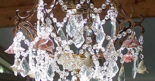 A Basket Of Roses Antique Crystal Chandelier
