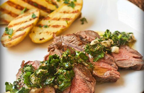 Panini-Grilled Flat Iron Steak with Chimichurri and ...