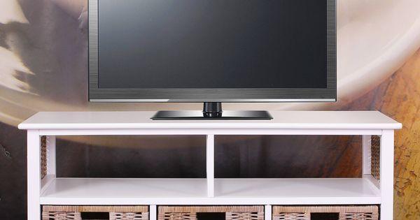 Meuble table basse t l bois massif osier 3 tiroirs for Chez brick meuble