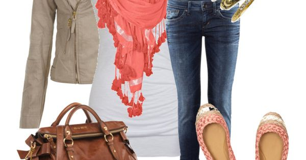 coral scarf, created by stacy-gustin on Polyvore
