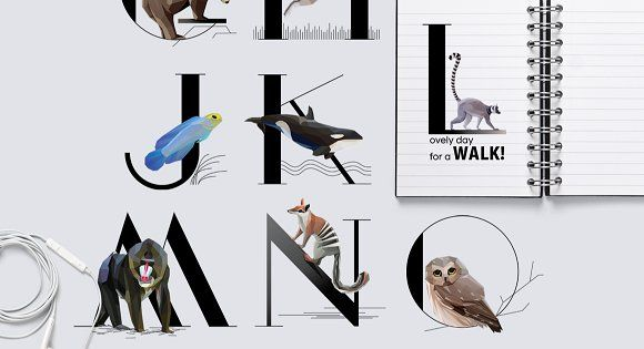 Animal Typography set with a little creativity and imagination