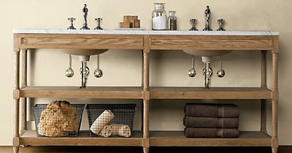 Weathered Oak Double Washstand Traditional Bathroom: double sink washstand