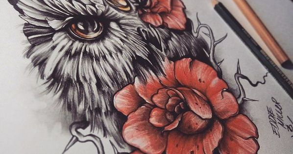 Owl Roses Eye by EdwardMiller on DeviantArt - i loooove this ♥