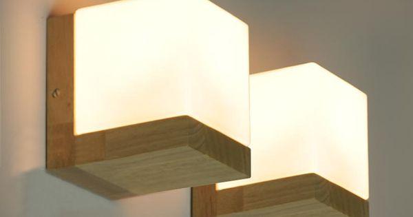 Pas cher moderne bois de ch ne cube de sucre appliques de for Applique salle de bain bois
