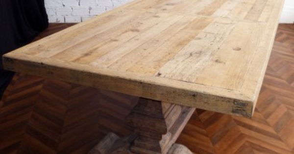 Table de ferme table monast re bois massif salle for Salle a manger shabby chic