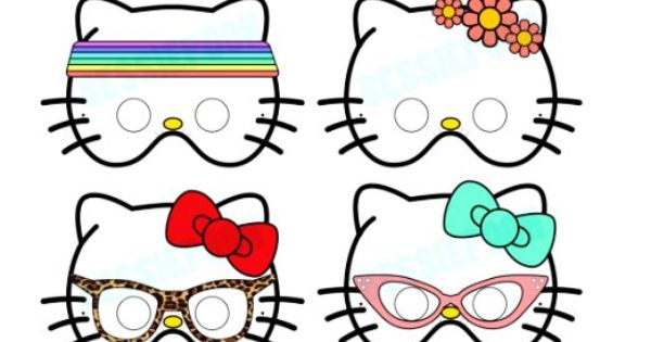 hello kitty mask template - hello kitty party printable masks includes 12 mask
