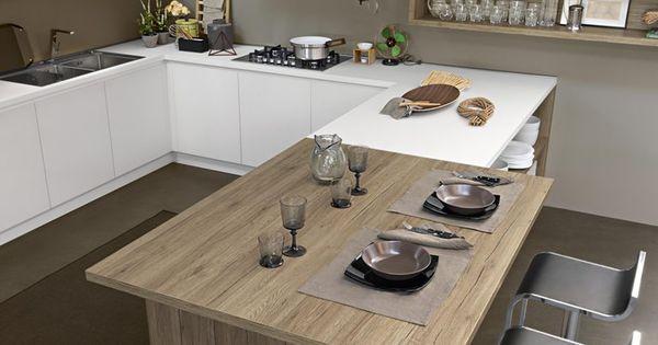 Abbinamento raffinato tra laminato bianco e laminato legno - Altezza top cucina ...